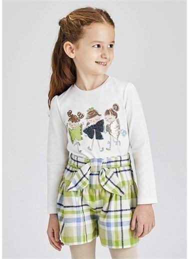 Mayoral Mayoral Kız Çocuk Organik Pamuk Pullu Sweatshirt Beyaz